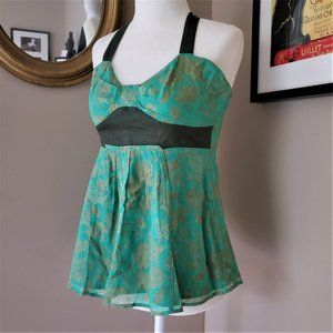 Anthropologie Fei Green Floral Halter Top Size 4